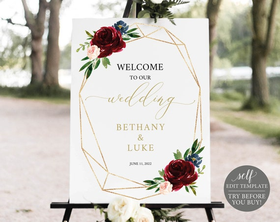 Wedding Welcome Sign Template, Burgundy Geometric, Editable Printable Instant Download, Templett, Demo Available