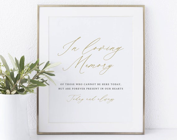 In Loving Memory Sign Template, Stylish Script Gold, Instant Download Non-Editable