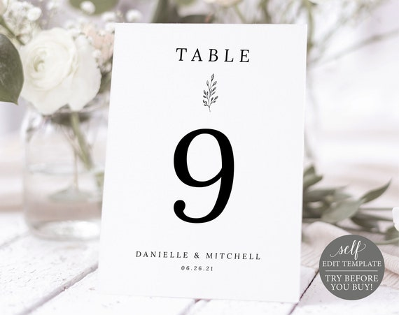 Table Number Template, Formal Botanical, TRY BEFORE You BUY, 100% Editable Instant Download