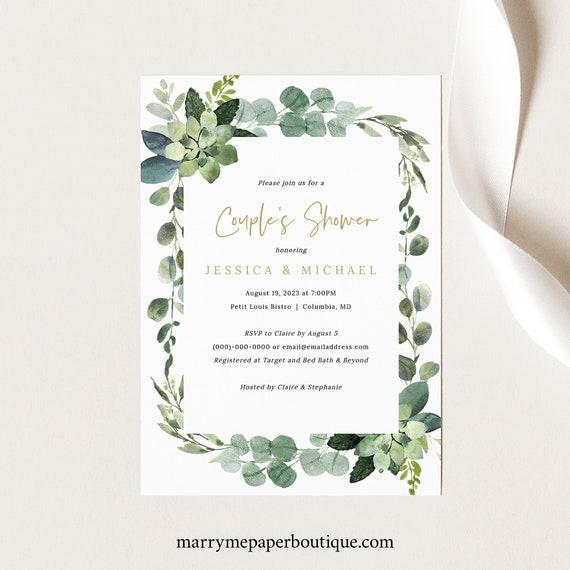 Couples Shower Invitation Template, Lush Greenery, Shower Invite Printable, INSTANT Download, Editable, Templett