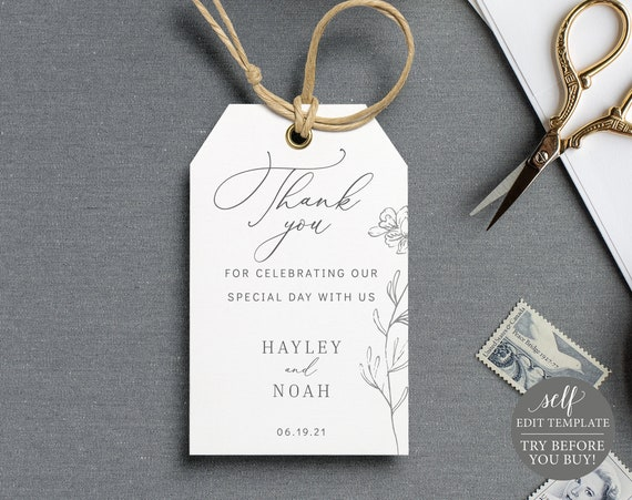 Wedding Favor Tag Template, Floral Botanical, 100% Editable Instant Download, TRY BEFORE You BUY