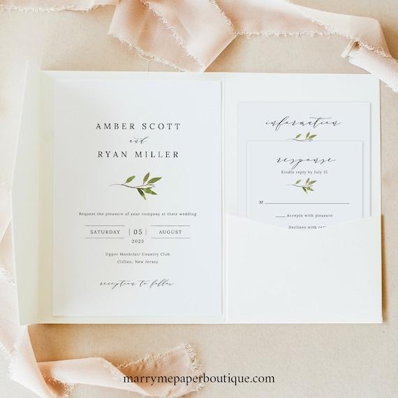 Greenery Wedding Invitation Template Suite, Green Leaf, Invite Set Printable, Templett Editable, Instant Download, Pocketfold Style