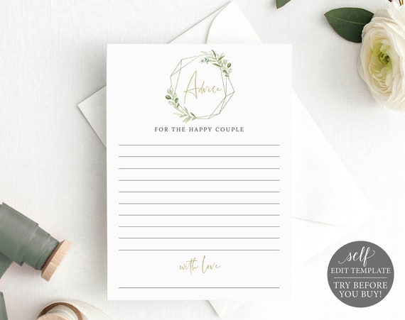 Advice Card Template, Printable Editable Instant Download, Templett, Greenery Gold, Demo Available