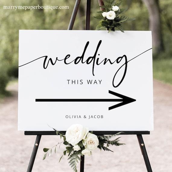 Wedding Directional Sign Template, Modern Calligraphy, Editable Wedding Direction Sign Printable, Direction Arrow, Templett INSTANT Download