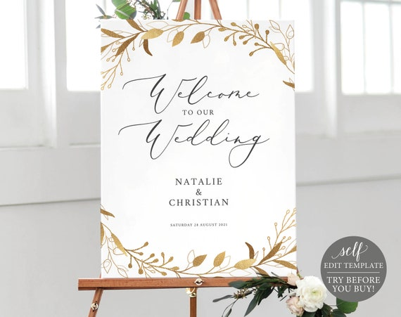 Wedding Welcome Sign Template, Gold Leaves, Fully Editable Instant Download, TRY BEFORE You BUY