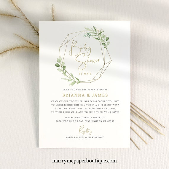 Greenery Baby Shower By Mail Invite Template, Social Distancing Shower By Mail Invitation Printable, Templett Instant Download
