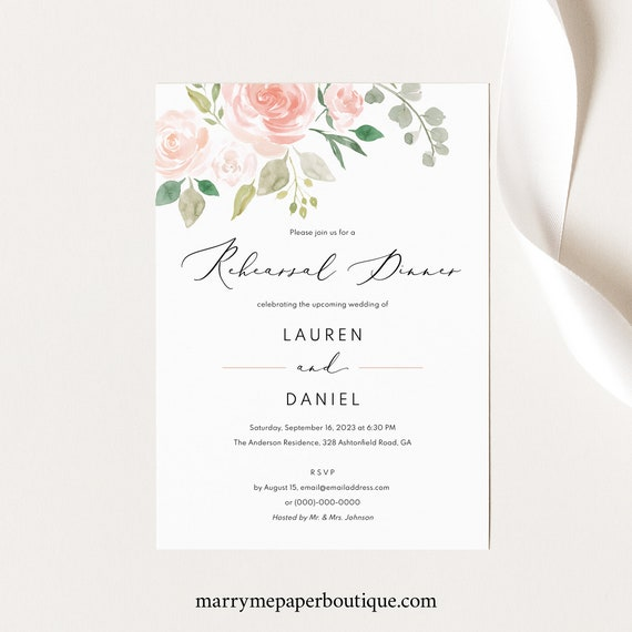Wedding Rehearsal Dinner Invitation Template,  Editable Invite, TRY BEFORE You BUY, Instant Download, Printable, Pink & Blush Floral