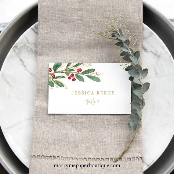 Winter Wedding Place Card Template, Christmas Wedding Seating Card Printable, Templett, Editable, Instant Download