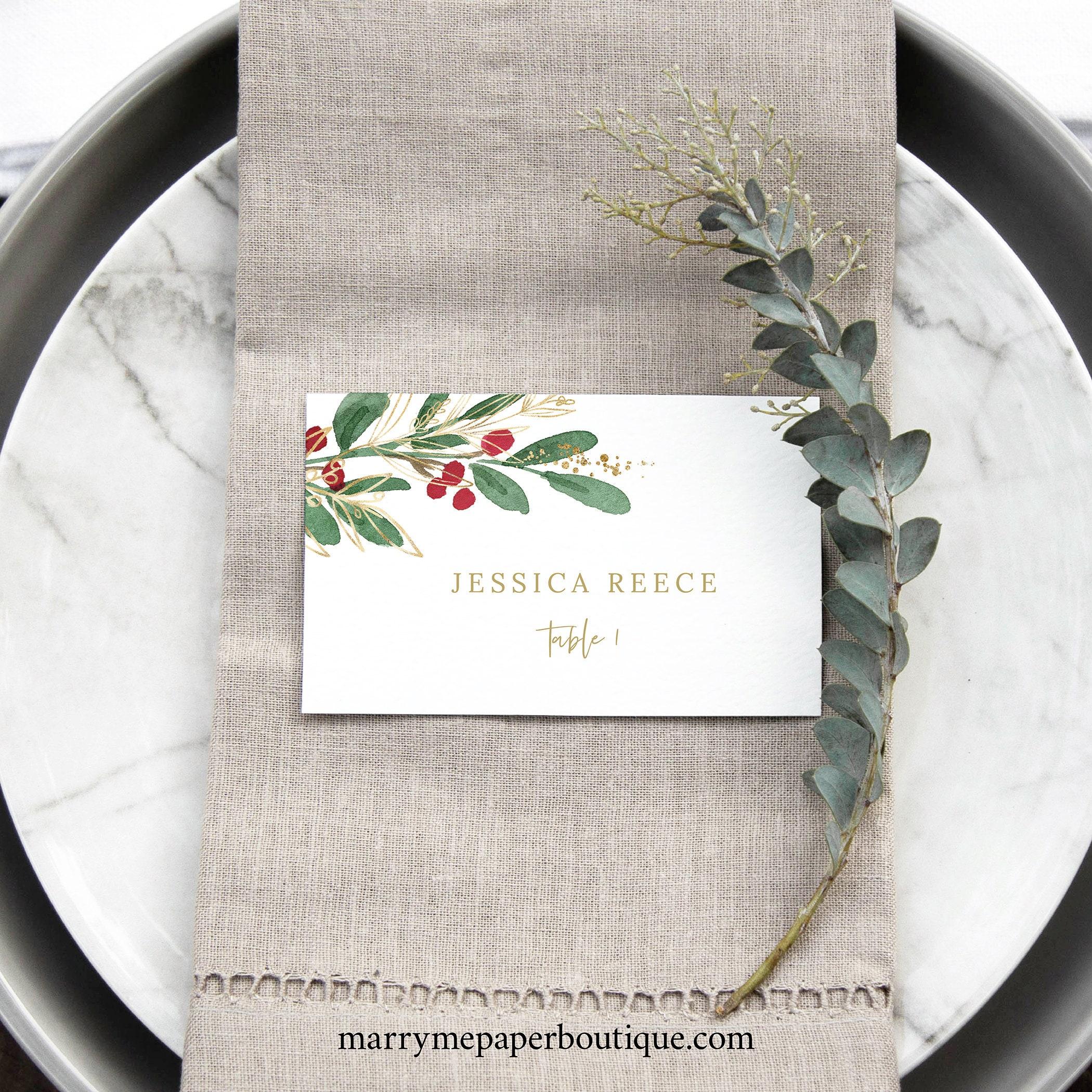 winter wedding place card template christmas wedding