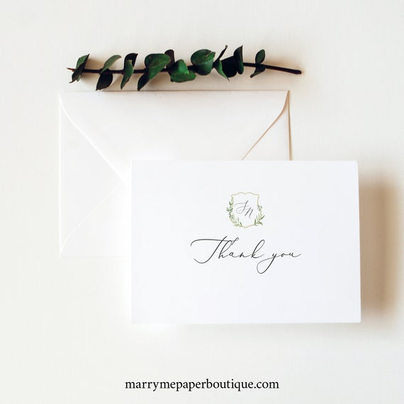 Thank You Card Template, Greenery Wedding Crest, Printable Thank You, Folded, Editable, Templett INSTANT Download