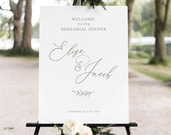 Rehearsal Dinner Welcome Sign Template, Elegant Font, Calligraphy, Rehearsal Sign Printable, Editable, Templett INSTANT Download