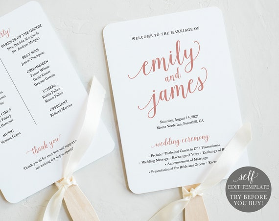 Wedding Program Fan Template, Rose Gold Script, TRY BEFORE You BUY, 100% Editable Instant Download