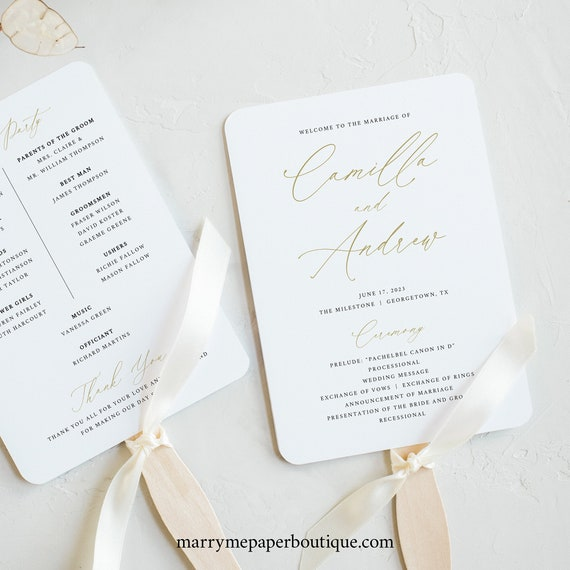 Wedding Program Fan Template, Stylish Gold Script, Editable & Printable Instant Download, Templett, Try Before You Buy