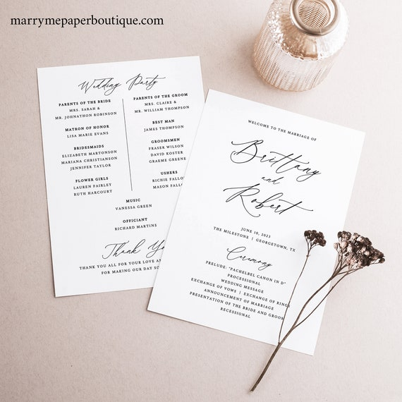 Wedding Ceremony Program Template, Elegant Stylish Script Wedding Program, Printable, 5x7, Templett INSTANT Download, Fully Editable