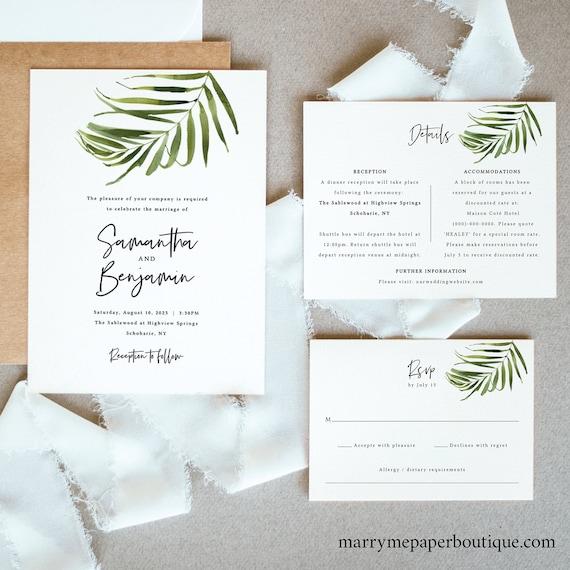 Tropical Wedding Invitation Template Set, Beach Wedding, Invitation Printable, Editable, Details & RSVP, Templett, Instant Download