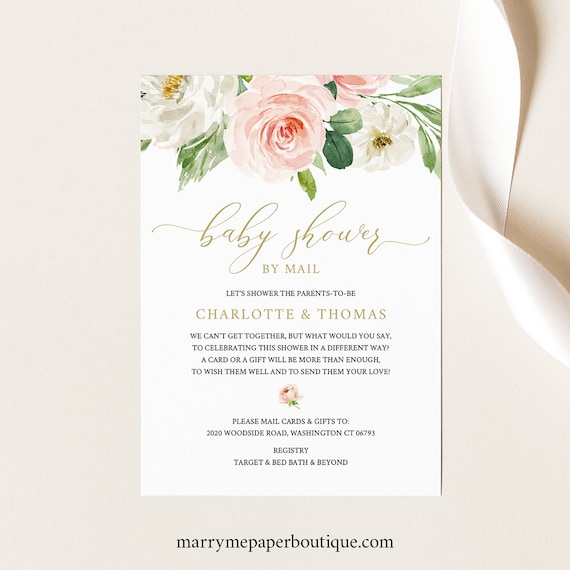 Pink Floral Baby Shower By Mail Invitation Template, Blush Shower By Mail Invite Printable, Templett Instant Download