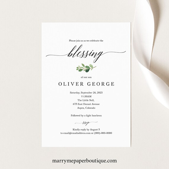 Blessing Ceremony Invitation Template, Greenery Leaf, Baby Blessing Invitation Card, Printable, Editable, Templett INSTANT Download