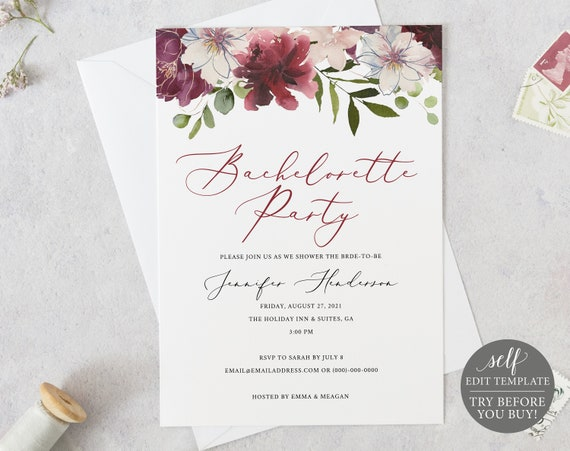 Bachelorette Party Invitation Template, Editable Instant Download, TRY BEFORE You BUY, Burgundy Floral