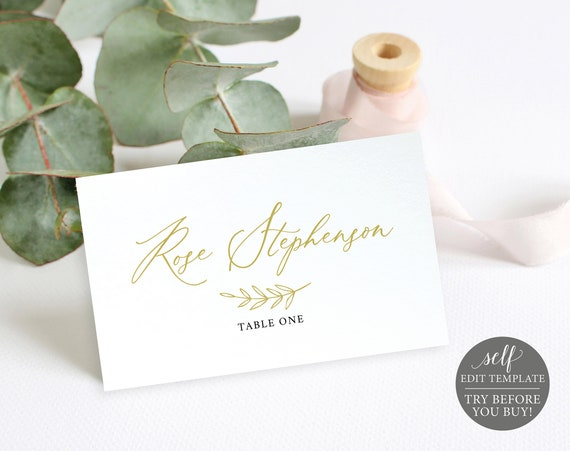 Wedding Place Card Template, TRY BEFORE You BUY, Wedding Seating Cards, Printable Name Cards, 100% Editable, Instant Download