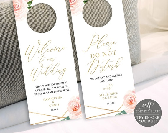 Wedding Door Hanger, Fully Editable Template, TRY BEFORE You BUY, Instant Download, Blush Floral Geometric