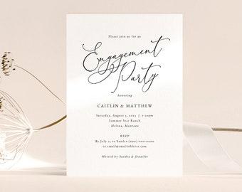 Engagement Party Invitation Template, Elegant Calligraphy Engagement Party Invite, Printable, Editable, Templett INSTANT Download