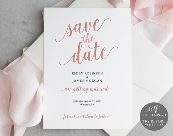 Save the Date Template, Editable & Printable Instant Download, Templett, Modern Script Rose Gold
