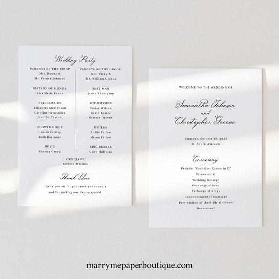 Wedding Program Template, Elegant Romantic Script, Wedding Ceremony Program Printable, Editable, Calligraphy,Templett INSTANT Download