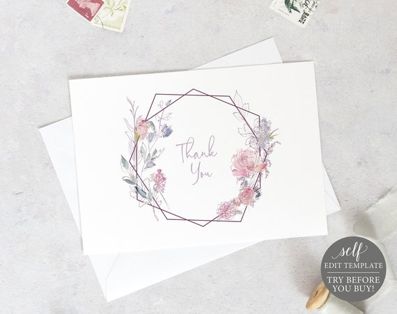 Thank You Card Template, Fold, Pink Lilac Floral, TRY BEFORE You BUY, Fully Editable Instant Download