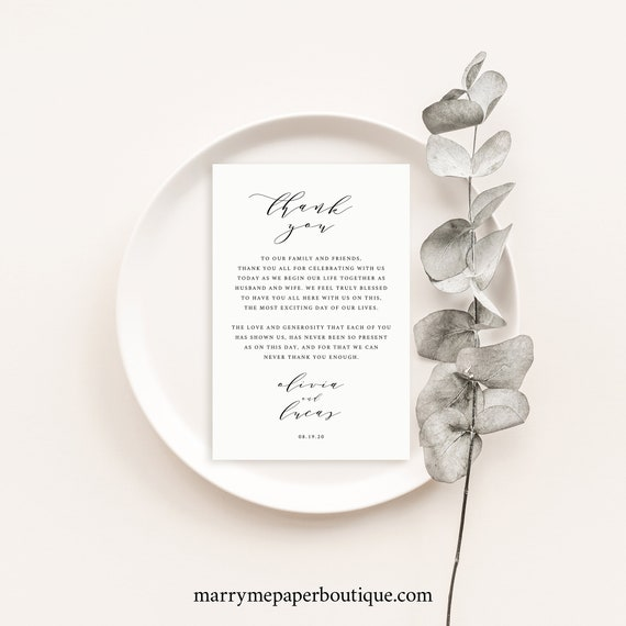 Thank You Note Template, Elegant Calligraphy, Wedding Thank You Card, Printable, Fully Editable, Templett INSTANT Download