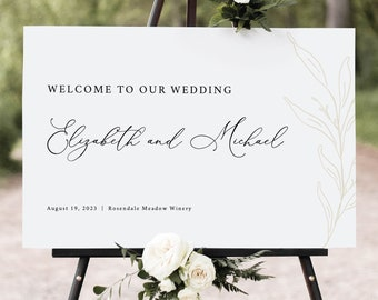 Wedding Welcome Sign Template, Botanic Calligraphy, Welcome To Our Wedding Sign, Printable, Editable, Gold Leaf, Templett INSTANT Download