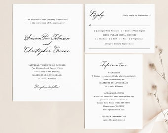Wedding Invitation Template Set, Elegant Romantic Script, Wedding Invite Suite, Details & RSVP Card, Printable, Templett INSTANT Download