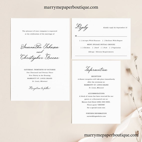 Wedding Invitation Template Set, Elegant Romantic Script, Wedding Invite Suite, Details & RSVP Card, Printable, Templett INSTANT Download