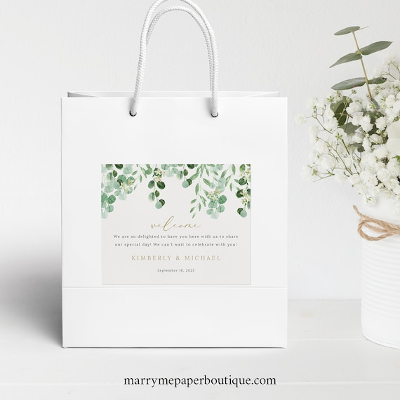 Wedding Guest Bag Label Template, Garden Greenery, Hotel Bag Label Printable, Editable, Instant Download, Templett