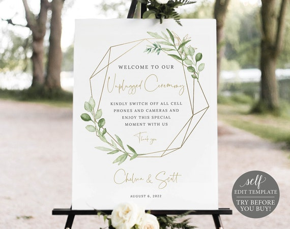 Unplugged Ceremony Sign Template, Greenery & Gold, Try Before You Buy, Editable Printable Instant Download, Templett