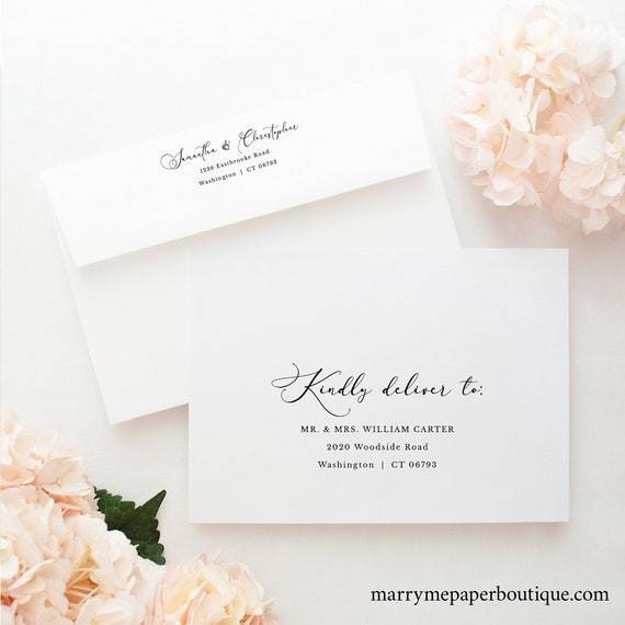 Calligraphy Wedding Envelope Address Template, Printable Envelope Address, Classic, Templett INSTANT Download, Fully Editable