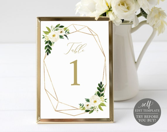Table Number Template, White Floral Geometric, TRY BEFORE You BUY, Editable Instant Download