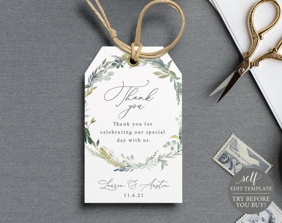 Thank You Favor Tag Template, Greenery & Blue, TRY BEFORE You BUY, Fully Editable Instant Download