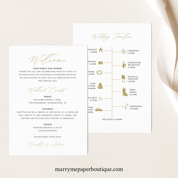 Wedding Itinerary Card Template, Stylish Script Gold, Editable Printable Instant Download, Demo Available, Templett