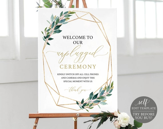 Unplugged Ceremony Sign Template, Greenery Geometric, TRY BEFORE You BUY, Editable Instant Download