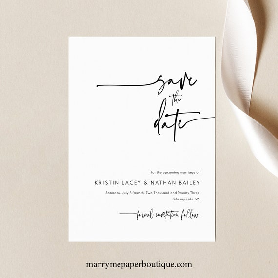 Save the Date Template, Modern Contemporary, Clean Simple Save Our Date Card, Printable, Editable, Templett INSTANT Download