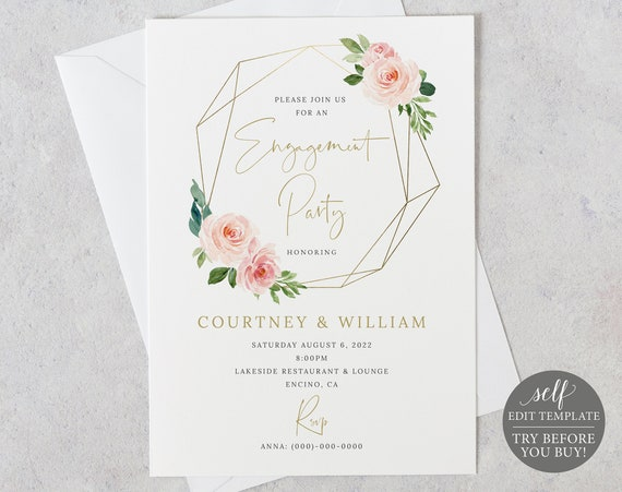 Engagement Party Invitation Template, Order Edit & Download In Minutes, Try Before Purchase, Blush Pink Geometric