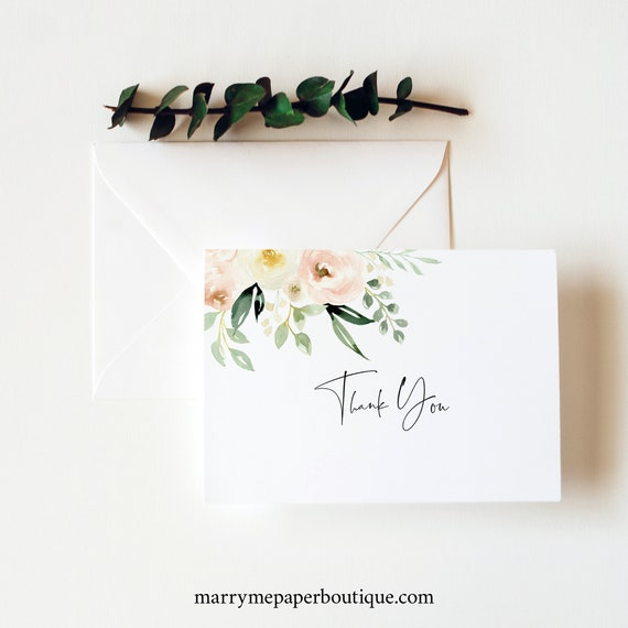 Thank You Card Template, Pink Floral Greenery, Ivory, Folded, Printable Thank You Card, Editable, Templett INSTANT Download