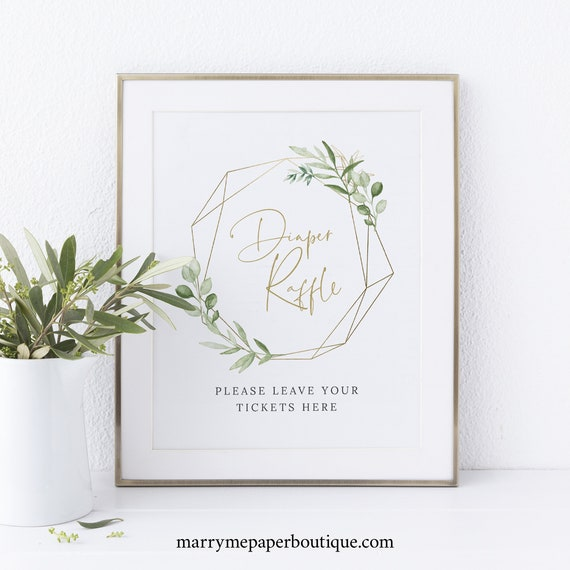 Diaper Raffle Sign and Ticket Template, Greenery & Gold Geometric, Baby Shower Sign, Printable, Editable, Templett INSTANT Download