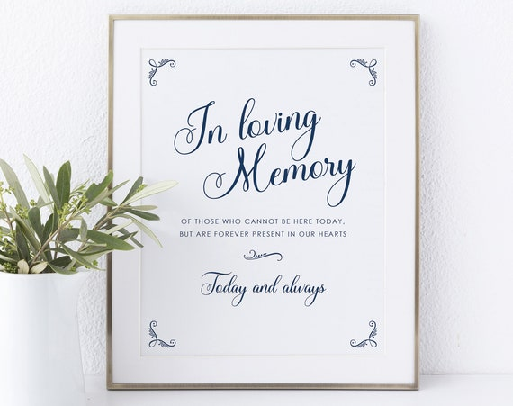 In Loving Memory Sign Template, Non-Editable Instant Download, Rustic Navy