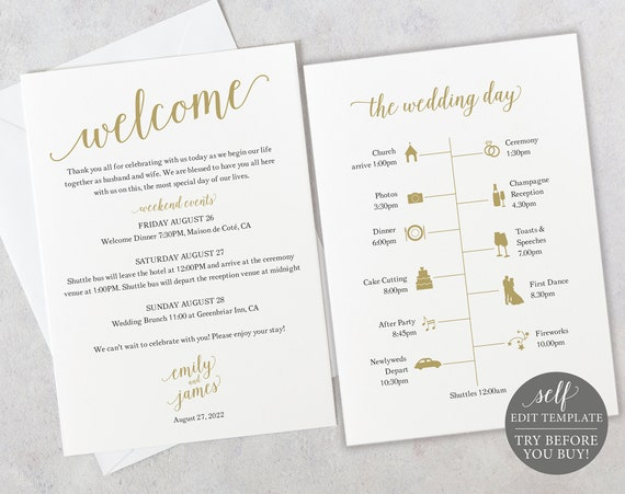 Wedding Itinerary Card Template, Modern Script Gold, Templett, Editable & Printable Instant Download, TRY BEFORE You Buy