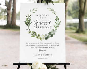 Unplugged Ceremony Sign Template, Elegant Greenery, Unplugged Wedding Sign, Printable, Editable, Templett INSTANT Download