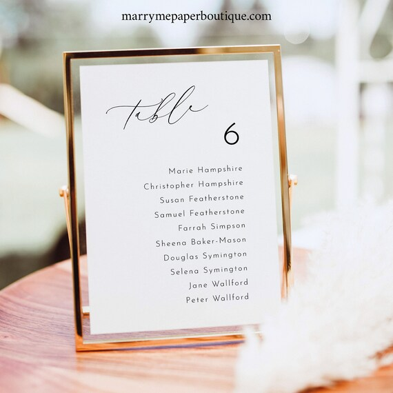 Wedding Seating Sign Template, Luxury Calligraphy, Small Seating Sign, 5x7, Table Seating Card, Printable, Templett INSTANT Download