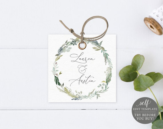 Monogram Tag Template, Greenery Blue, Editable Instant Download, TRY BEFORE You BUY