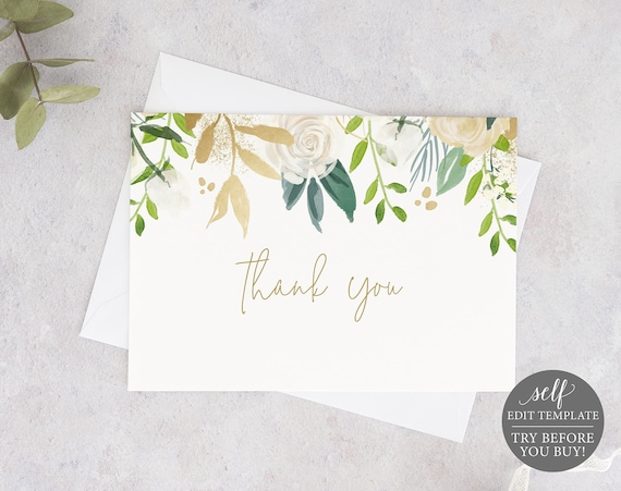 Thank You Card Template, Fold, White & Gold Floral, TRY BEFORE You BUY, Editable Instant Download