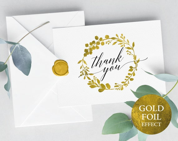 Faux Gold Wedding Thank You Card Template, Printable Thank You Card, Wedding Thank You, Folded Thank You Card, PDF Instant Download, MM07-3